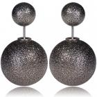 Náušnice Double Bead - Sivá gravírovaná