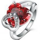 Prsteň Red Heart - Strieborná / 57mm