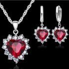 Set Zircon Heart-Červená