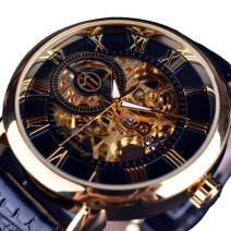 Hodinky Gold Skeleton-Čierna/Zlatá