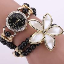 Hodinky Pearl Flower - Čierna