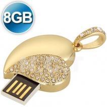 Luxusné  srdiečko USB 8GB - Zlatá