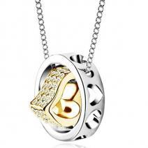 Náhrdelník Double Heart-Strieb./Zlatý 2