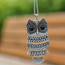 Náhrdelník Retro Owl - Strieborná