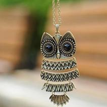 Náhrdelník Retro Owl - Zlatá