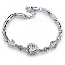 Náramok Crystal Heart-Strieborná/Kryštálová