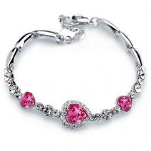 Náramok Pink Heart-Strieborná/Ružová