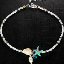 Náramok na nohu Starfish-Biela/Tyrkysová