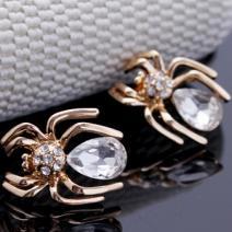 Náušnice Crystal Spider-Zlatá/Kryšt.