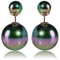 Náušnice Double Bead - AB zelená