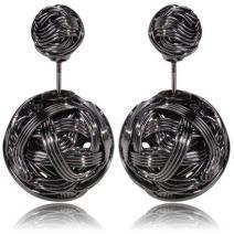 Náušnice Double Bead-Prepletaná čier.