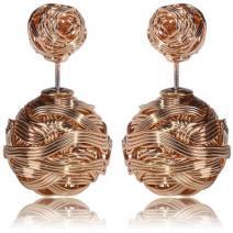 Náušnice Double Bead-Prepletaná zlatá