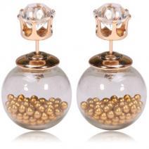 Náušnice Double Bead - Presýpacie - zlatá