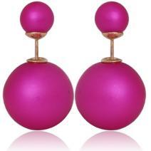 Náušnice Double Bead - Slabo fialová