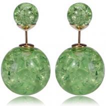 Náušnice Double Bead - Zelená kryštálová