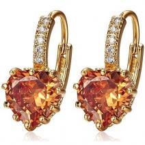 Náušnice Gold Heart Crystal