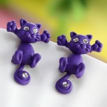 Náušnice Kitty Cat - Fialová