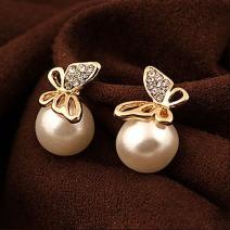 Náušnice Pearl Butterfly-Zlatá