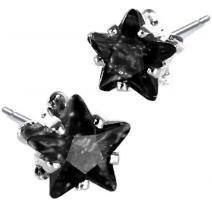 Náušnice napichovacie Hviezdičky- Čierna