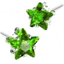 Náušnice napichovacie Hviezdičky- Zelená