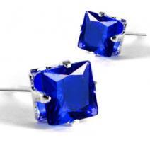 Náušnice napichovacie Kocky - Modrá