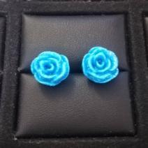 Náušnice napichovacie Ružičky-Modrá