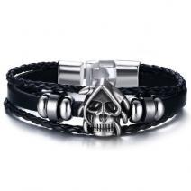 Pánsky Náramok Skull-Čierna/Typ2
