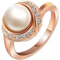 Prsteň Bridal Pearl - Zlatá / 62mm