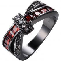 Prsteň Divine-Čierna/Červená/56,9mm