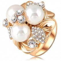Prsteň Three Pearl - Zlatá / 57mm