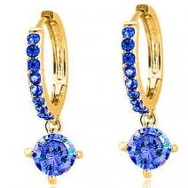 Ring náušnice - Modrá/Zlatá