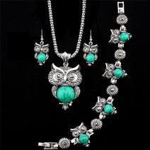 Set Antique Owl - Tyrkysová