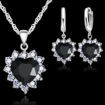 Set Zircon Heart-Čierna