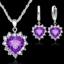 Set Zircon Heart-Fialová