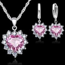 Set Zircon Heart-Ružová