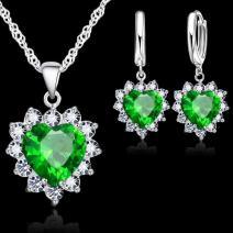 Set Zircon Heart-Zelená