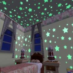 Fosforeskujúce Hviezdičky na stenu-Zelená