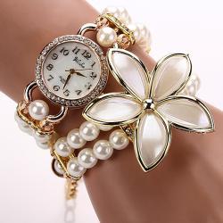 Hodinky Pearl Flower - Biela