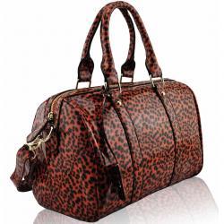 Kabelka Leopard-Oranžová/Čierna