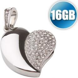 Luxusné srdiečko USB 16GB - Strieborná