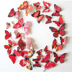 Motýle na stenu 12ks - Červená 2