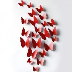 Motýle na stenu 12ks - Červená