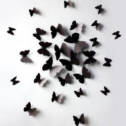 Motýle na stenu 12ks - Čierna