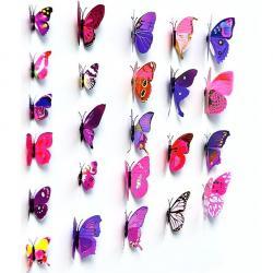 Motýle na stenu 12ks - Fialová