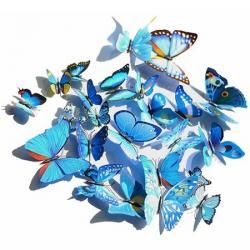 Motýle na stenu 12ks - Modrá
