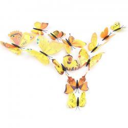 Motýle na stenu 12ks - Žltá
