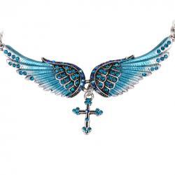 Náhrdelník Angel Cross-Modrá
