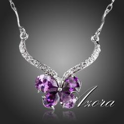 Náhrdelník Butterfly Crystal AZORA-Fialová
