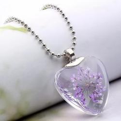 Náhrdelník Crystal Heart-Fialová