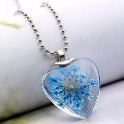 Náhrdelník Crystal Heart-Modrá
